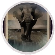 Wild Elephant Montage Round Beach Towel