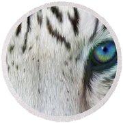 Wild Eyes - White Tiger Round Beach Towel