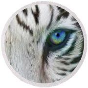 Round Beach Towel featuring the mixed media Wild Eyes - White Tiger by Carol Cavalaris