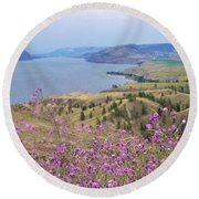 Round Beach Towel featuring the photograph Wild Flower Country by Victor K