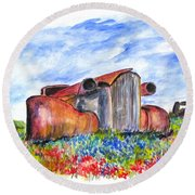 Wild Flower Junk Car Round Beach Towel by Clyde J Kell