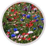 Wild Flower Meadow 2 Round Beach Towel