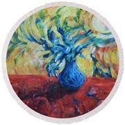 Round Beach Towel featuring the painting Wild Flower by Yulia Kazansky