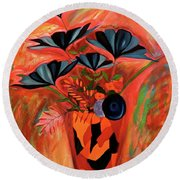 Round Beach Towel featuring the painting Wild Flowers  A Still Life  by Iconic Images Art Gallery David Pucciarelli