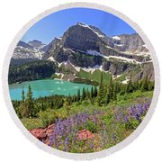 Wild Flowers Above Grinnell Lake Round Beach Towel