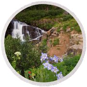 Wild Flowers And Waterfalls Round Beach Towel by Steve Stuller