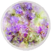 Wild Flowers In The Fall Watercolor Round Beach Towel