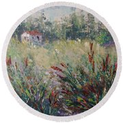 Wild Flowers Of Provence Round Beach Towel