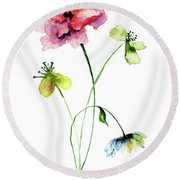 Wild Flowers Watercolor Illustration Round Beach Towel