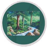 Wild Forest River Round Beach Towel