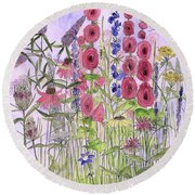 Round Beach Towel featuring the painting Wild Garden Flowers by Laurie Rohner