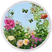 Round Beach Towel featuring the painting Wild Garden by Ivana Westin