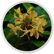 Wild Ginger In The Rain Round Beach Towel by Craig Wood