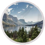 Wild Goose Island In St. Mary Lake - Glacier National Park Round Beach Towel