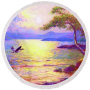 Wild Goose, Moon Song Round Beach Towel