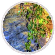 Wild Grapes Round Beach Towel