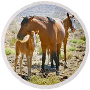 Wild Horse Family Round Beach Towel