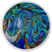 Wild  Horses In Brown And Teal Round Beach Towel