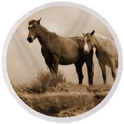 Wild Horses In Western Dakota Round Beach Towel