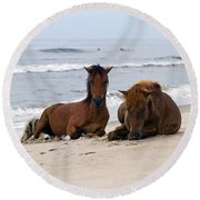 Wild Horses Of Assateague Island Round Beach Towel