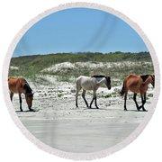 Wild Horses On The Beach Round Beach Towel