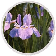 Round Beach Towel featuring the painting Wild Iris by Laurie Rohner