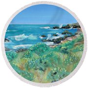 Wild Lupin At Gerstle Cove Park In May Round Beach Towel