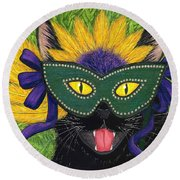 Wild Mardi Gras Cat Round Beach Towel