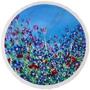 Wild Meadow Flowers Round Beach Towel