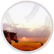 Wild Moorland Ponies Round Beach Towel