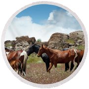 Wild Mustang Herd In The Springtime. Round Beach Towel