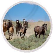 wild mustangs on the run to the water hole in Sand Wash Basin Round Beach Towel
