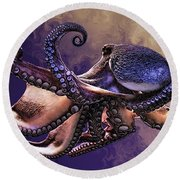 Wild Octopus Round Beach Towel