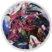 Wild Orchid Abstract Round Beach Towel