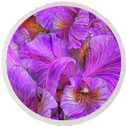 Round Beach Towel featuring the mixed media Wild Orchids by Carol Cavalaris