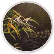 Wild Orchids Round Beach Towel