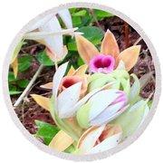 Wild Orchids In Pastel Round Beach Towel