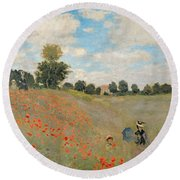 Wild Poppies Near Argenteuil Round Beach Towel