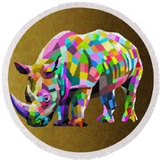 Wild Rainbow Round Beach Towel by Anthony Mwangi