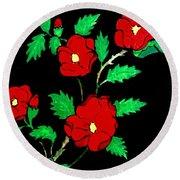 Wild Red Roses Round Beach Towel