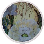 Wild Rose In The Forest Round Beach Towel by Donna Brown