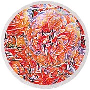 Wild Roses Abstract  Round Beach Towel