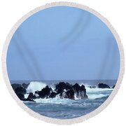 Wild Sea In Madeira Round Beach Towel