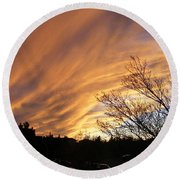 Round Beach Towel featuring the photograph Wild Sky Of Autumn by Barbara Griffin