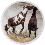 Wild Stallion Battle - Picasso And Dragon Round Beach Towel by Nadja Rider
