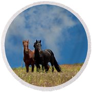 Wild Stallions Together Round Beach Towel
