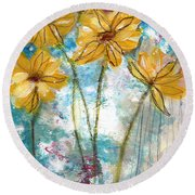 Wild Sunflowers- Art By Linda Woods Round Beach Towel