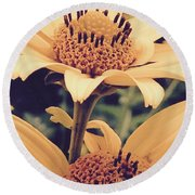 Wild Sunflowers Round Beach Towel