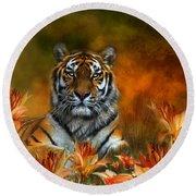 Wild Tigers Round Beach Towel