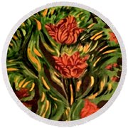 Wild Tulips Round Beach Towel